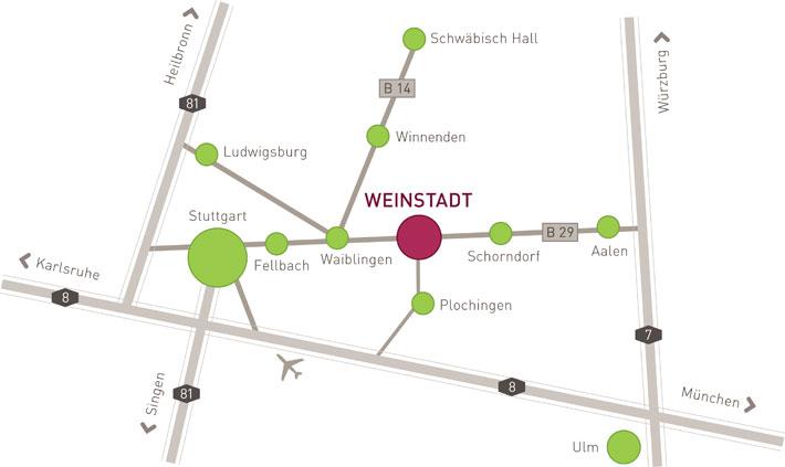 Anfahrtskizze Weinstadt