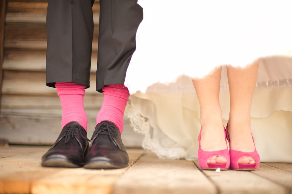 Hochzeitspaar aus ungewöhnlicher Perspektive