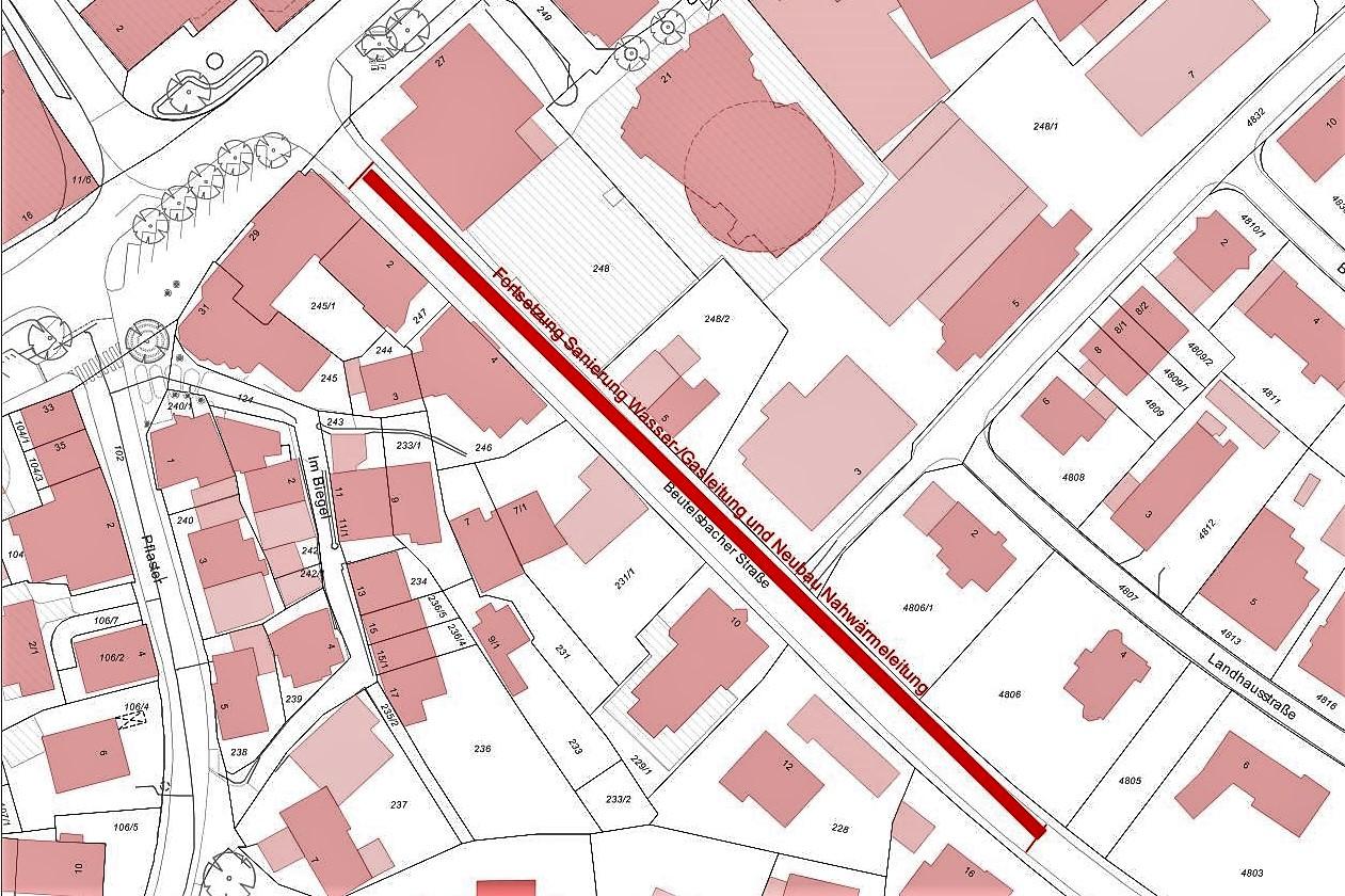Sanierung der Versorgungsleitungen in der Beutelsbacher Straße