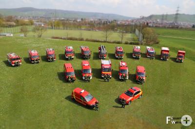 Mannschaft und Ausrüstung der Freiwilligen Feuerwehr Weinstadt.