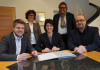 Bürgermeister Benedikt Paulowitsch, Oberbürgermeisterin Gabriele Zull und Oberbürgermeister Michael Scharmann bei der Vertragsunterzeichnung