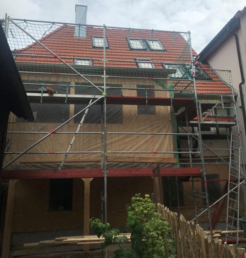 Fassadengerüst am Fachwerkhaus Rühle